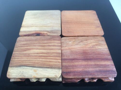 9x9x2.5cm Square Carved Wooden Mame Bonsai Stand Suiseki Stone Display