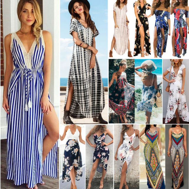 Summer Womens Floral Boho Long Dress Ladies Evening Party V Neck Maxi Dresses