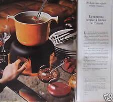 PUBLICITÉ 1975 LE CREUSET LE NOUVEAU SERVICE À FONDUE - ADVERTISING
