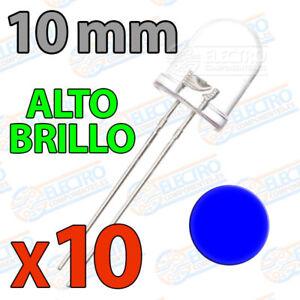 10x Led 10mm Azul Alto Brillo Ultra Ultrabright 20ma Diodo Diode Blue