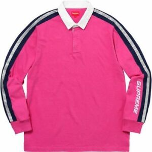 3ab1640b1 Supreme Reflective Sleeve Stripe Rugby Pink Size M SS18 New In Hand ...