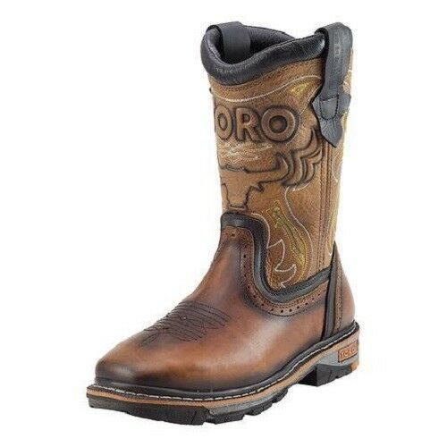 Toro Bravo Tan Leather Square Toe Work Boots TRC1