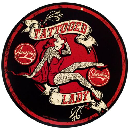 Lightweight Metal TATTOOED LADY aged style Advertising Sign 8x8