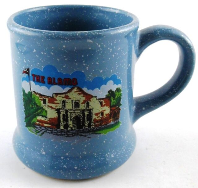 The Alamo Texas TX Souvenir Blue Speckled Coffee Cup Mug Landmark