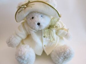 668fac3573f3 Galley Christmas Plush White Teddy Bear Coat and Hat Gold Accents ...