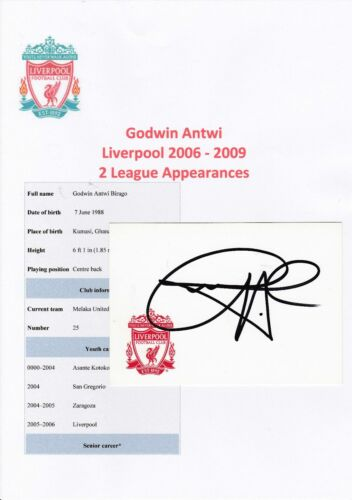 GODWIN ANTWI LIVERPOOL 20062009 ORIGINAL HAND SIGNED CRESTED CARD