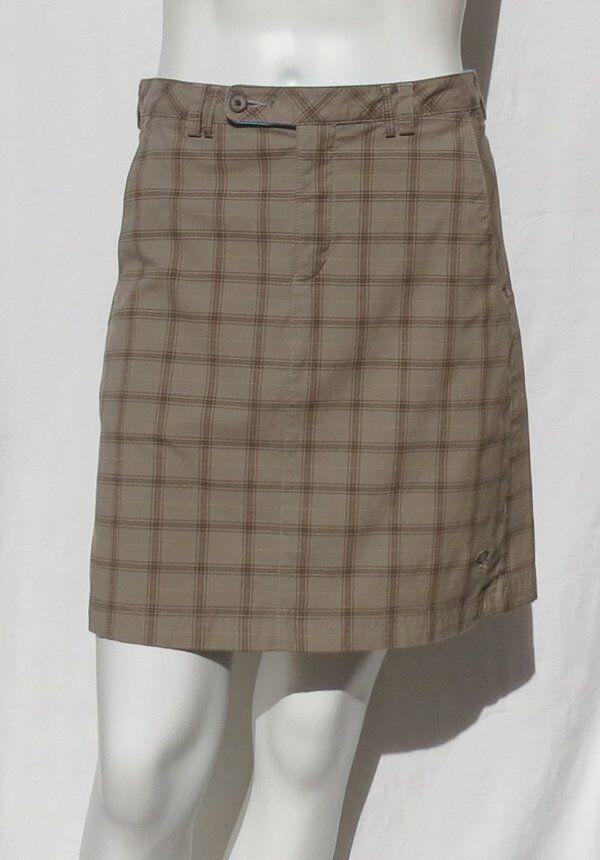 MOUNTAIN HARDWEAR Women's Brown Plaid Stretch Organic Cotton Skirt size 4 EUC