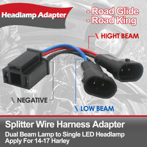 Details about Dual Beam Headlight Splitter Harness Adapter For Harley on