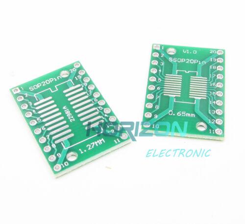 10pcs SOP20 SSOP20 TSSOP20 to DIP20 PCB SMD DIP//Adapter plate Pitch 0.65//1.27mm
