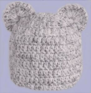 BOYS CHUNKY HAND CROCHETED HAT teddy bear ears owl grey flecked ... 26645d4fcc9d
