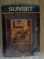 vintage 1998 sunset cross stitch kit old teddies teddy bear 13653 new in package Craft Supplies