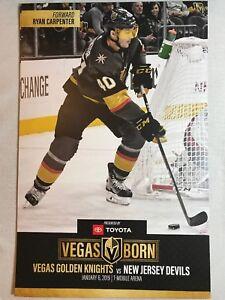 huge discount c73ae 20774 Details about Vegas Golden Knights New Jersey Devils Poster Program  1/6/2019 Ryan Carpenter