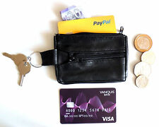 A MiNi Small Coin Change Black Leather Purse Wallet With Keyring Holder & pocket