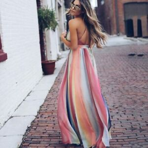 Boho-Casual-Evening-Cocktail-Dress-Long-Beach-Party-Maxi-Sundress-Summer-Women-039-s