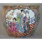 Vintage Large Chinese Famille Rose Porcelain Fish Bowl Planter Red Stamp