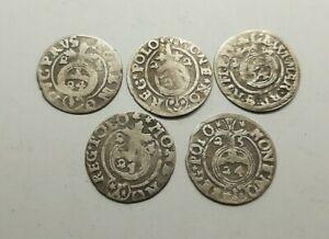 Set-5-teilig-alles-Mittelalter-Silber-Muenzen-1-24-Thaler-1621-25-Jahre-2676