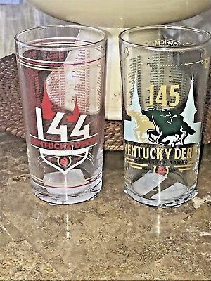 GREAT SET of TWO!! 2018 2019 Official Kentucky Derby Glasses  NEW MINT!