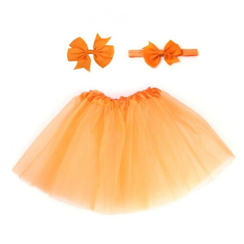 KE/_ 3Pcs Candy Color Soft Baby Girls Tulle Skirt Headband Hairpin Photo Prop FT