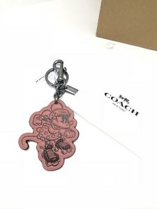 NWT-Coach-F27709-Minnie-Mouse-Rollerskate-Key-Chain-Charm-Leather-Pink-Saddle-60