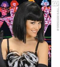 Ladies Short Black Wig With Fringe Showgirl Lady Gaga Moulin Rouge Fancy Dress
