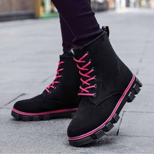 Women/'s Casual Snow Boots England Suede Warm Winter Velvet Flat Slip on Shoes