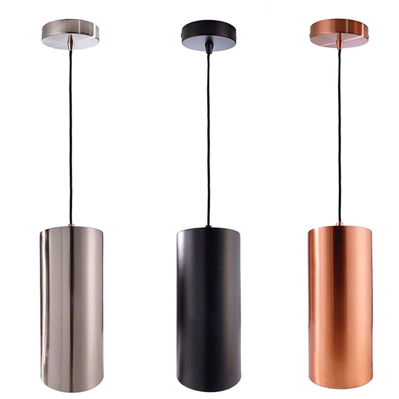 Lampadario pendente moderno cilindro sospensione lampada led soffitto E27 220V