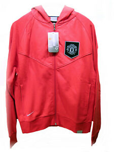 tipo rango Premio  New NIKE MANCHESTER UNITED Football Club Vintage HOODIE JACKET Red ...