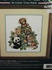 Sunset Cuddly Critters No Count Cross Stitch Kit Panda Bear Monkey Tiger Babies