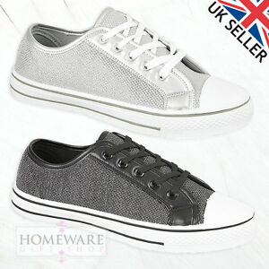 LADIES WOMENS GIRLS FLAT LACE UP PUMPS PLIMSOLLS TRAINER BLACK SILVER UK 3-8L