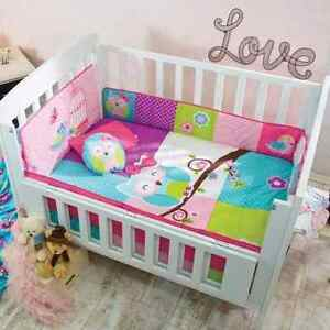 Green And Blue Owl Crib Bedding