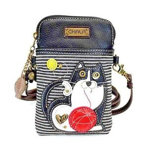 Black-Striped-Faux-Leather-Crossbody-Chala-Cell-Phone-Wallet-Purse-Handbag-Cat