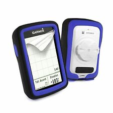 Tuff-Luv Silicone Twin Dual layer Skin Case for Garmin Edge 820 - Black / Blue
