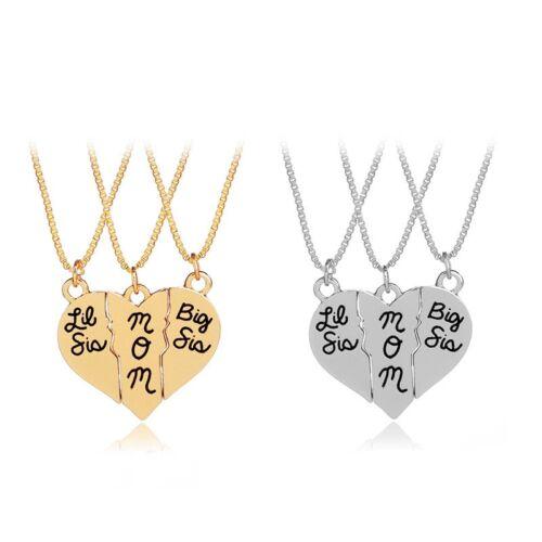 Fashion LOVE Coeur Or Argent Strass Pendentifs Collier Bijoux Cadeau Pour Maman