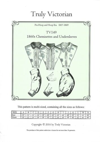 1860s chemisettes and undersleeves Motifs de coupe truly victorian tv 149