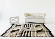 Area Rug Black Grey Wool Living Room Rug Sheep Wool Throw Carpet Rug Handmade