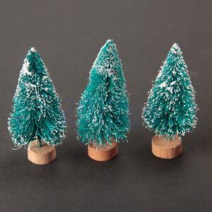 6-Mini-arbre-de-Noel-6cm-fils-sisal-arbre-Decoration-Bois-Arbre-Stand-HG