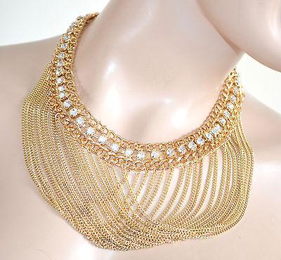 Girocollo donna collana ORO cristalli catena collier da cerimonia strass 1025