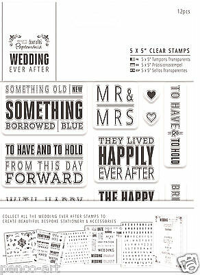 Docrafts Papermania clear rubber stamp set WEDDING EVER AFTER TOPPER SENTIMENTS