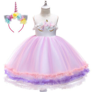 Unicorn-Wedding-Flower-Girls-Dress-Headband-Birthday-Set-for-Carnival-Cosplay