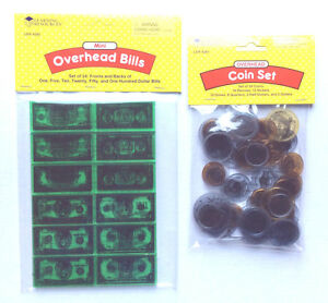 Overhead Coins, 50, plus Overhead Bills, 24, Learning Resources   X4281 + X4282