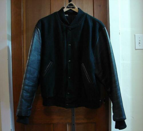 Vintage Black Leather Varsity Jacket Size Large