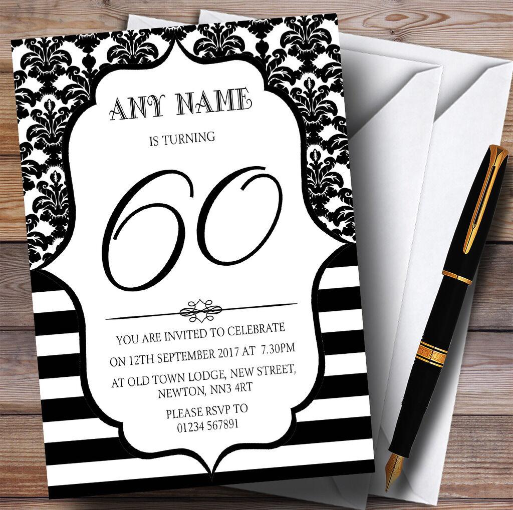 Vintage damassé noir & blanc 60th personnalisé fête d'anniversaire d'anniversaire fête invitations d9d3df