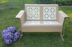 Tremendous Details About Vintage Bunting Metal Porch Glider Pie Crust Loveseat Restored Sand Cream Pastry Onthecornerstone Fun Painted Chair Ideas Images Onthecornerstoneorg