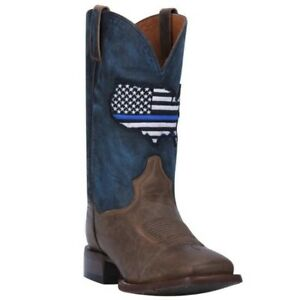 Boots Dan Post Men's Thin Blue Line Square Toe Western Boots Dp4515 Clothing, Shoes & Accessories