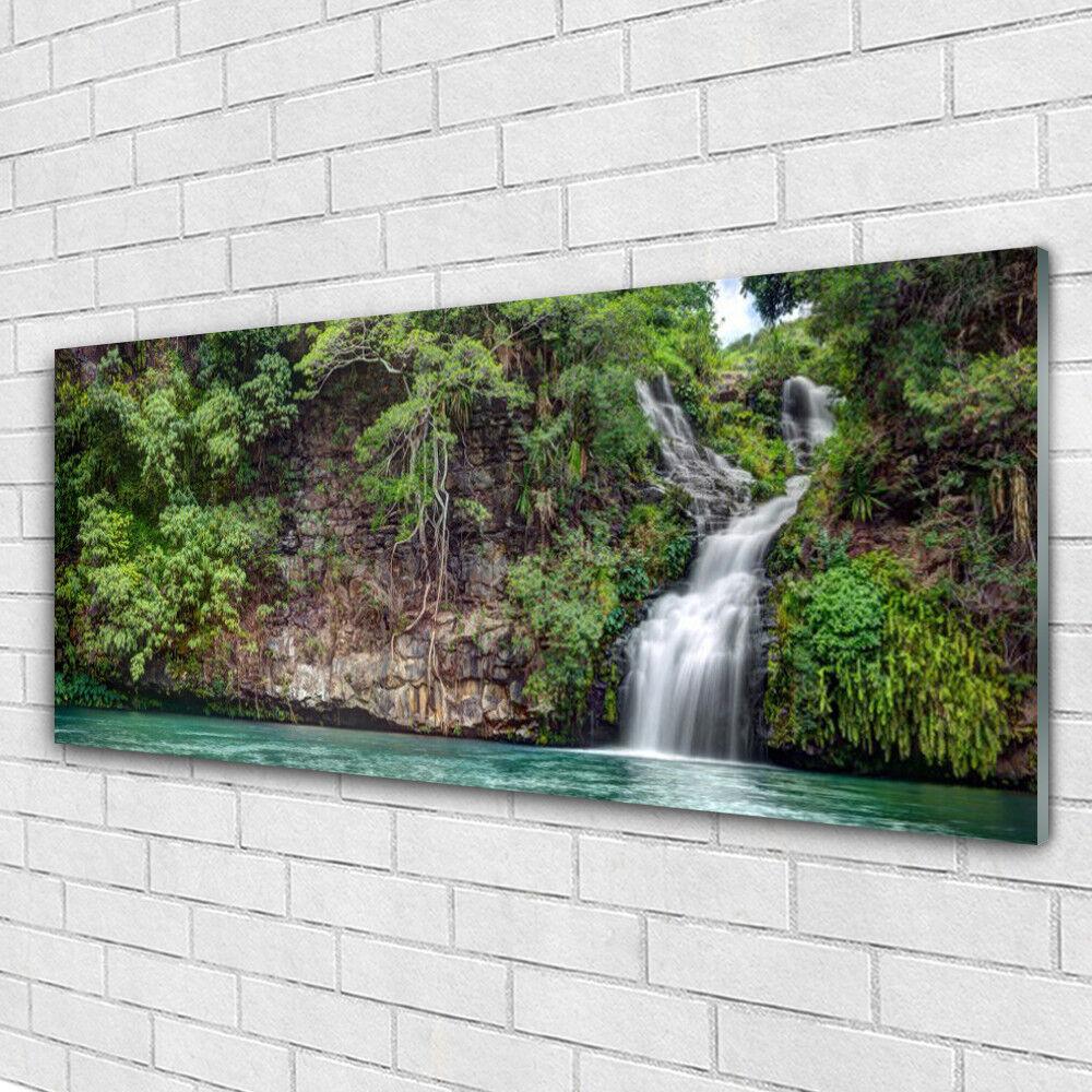 Impression sur verre Image tableaux 125x50 Nature Chute D'eau Roche