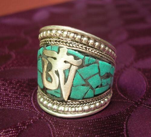 Wunderschöner Silber Herren RING aus TIBET mit Türkis und Om 19-22mm Innenmaß