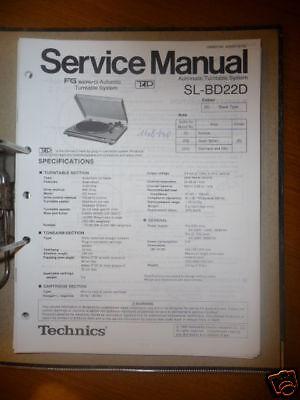 Service Manual Technics Sl-bd22 Plattenspieler,original Im In Und Ausland FüR Exquisite Verarbeitung Gekonntes Stricken Und Elegantes Design BerüHmt Zu Sein