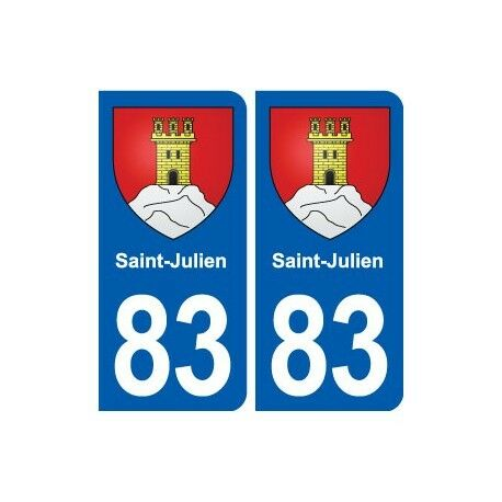 83 Saint-Julien  blason autocollant plaque stickers ville arrondis
