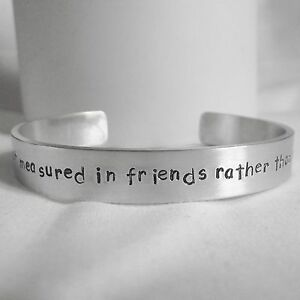 Statement-Cuff-Bracelet-Handmade-Personalised-034-A-journey-is-friends-034-Bangle