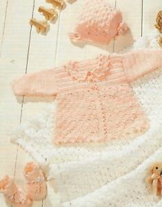 Baby-Jacket-Shawl-Bonnet-and-Bootees-Crochet-Pattern-Matinee-Set-in-4ply-1003